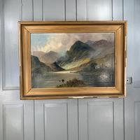 Antique large Scottish landscape oil painting of cottage by loch signed Montgomery Ansell