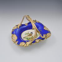 Fine & Large Alcock Rococo Porcelain Ornithological Basket c.1845