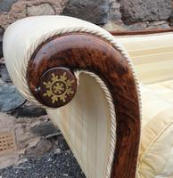 Large Regency Brass Inlaid Scroll End Sofa (8 of 9)