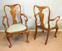 Set of Eight Queen Anne Style Walnut Dining Chairs (2 of 15)