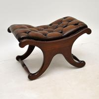 Regency Style Leather Armchair & Stool (11 of 14)