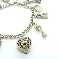 Vintage sterling silver English charm bracelet ~ 12 Charms & Heart padlock~ 50grams (4 of 8)