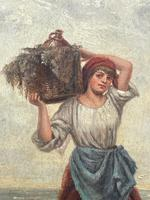"""Pair of Victorian Oil Paintings """"Cockle Pickers"""" Female Figures on Beach Shoreline (12 of 33)"""