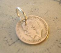 Antique Pocket Watch Chain Fob 1920 Silver Lucky Three Pence Old 3d Coin Fob (4 of 6)