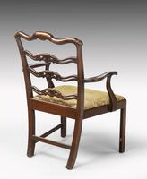 Substantial Early 20th Century Chippendale Style Ladderback Elbow Chair (3 of 8)