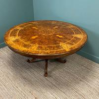 Large Figured Walnut Circular Antique Dining Table (3 of 8)