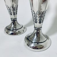 Pair of Antique Sterling Silver Trumpet Shaped Vases (4 of 12)