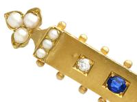 0.18ct Sapphire, Diamond & Pearl, 18ct Yellow Gold Bar Brooch - Antique Victorian c.1890 (3 of 9)