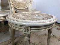 Vintage French Set of 6 Bergère Cane Dining Chairs Medallion Louis Style (5 of 11)