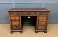 Good Carved Oak Pedestal Desk (3 of 18)