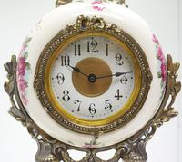Antique Porcelain Portico Mantel Clock Rose & Blue Floral Mantle Clock (2 of 7)