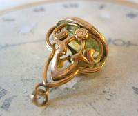 Antique Pocket Watch Chain Fob 1910 Art Nouveau Big Rose Gilt & Green Stone Fob (6 of 9)