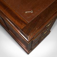 Antique Partner's Desk, English, Mahogany, Leather, Writing Table, Edwardian (9 of 12)