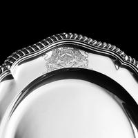 Antique Solid Silver Dish with Coat of Arms for Michael Bass, 1st Baron Burton - Garrard 1888 (14 of 21)