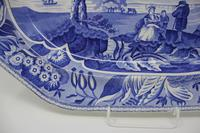 Antique Blue & White Pearlware Parkland Scenery Platter (7 of 12)