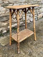 Antique Victorian Bamboo & Rattan Occasional Side Table (7 of 9)