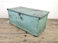 Antique Green Painted Wooden Trunk or Box (3 of 10)