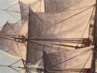 "Seascape Oil Painting Naval Frigate Ships Napoleonic War Sea ""Battle Trafalgar"" (15 of 25)"