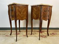 French Marquetry Bedside Tables Cabinets With Marble Tops Louis XVI Bombe Style (3 of 10)
