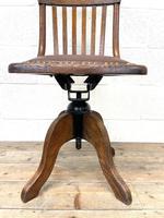 Early 20th Century Antique Oak Swivel Desk Chair (4 of 10)