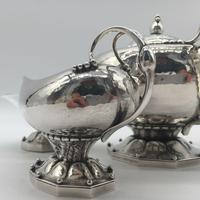 Rare Early Georg Jensen Silver Tea Set Leaf & Berry 181 1924 (7 of 10)