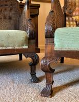 19th Century Antique Mahogany Upholstered 3 Piece Bergere Sofa Suite Armchairs Settee (15 of 15)