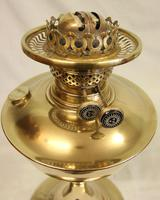 Antique Brass Oil Lamp with Cranberry Shade (3 of 7)