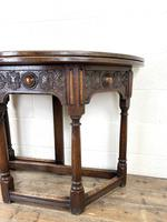 Carved Oak Fold-over Demi Lune Table (5 of 10)