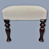 Long and Low Buttoned Footstool in Ticking (8 of 8)