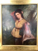 Antique Re-Raphaelite oil painting portrait of aristocratic young girl (1 of 2) (3 of 10)