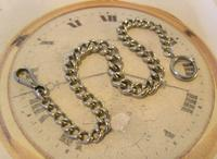 Antique Pocket Watch Chain 1890s Victorian Large Silver Nickel Graduated Link Albert (3 of 10)