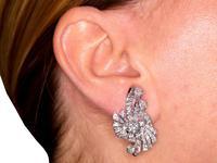 4.39ct Diamond & Platinum Earrings - Art Deco - Vintage c.1940 (9 of 9)