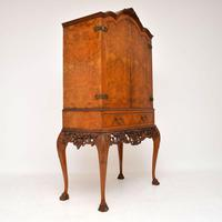 Antique Queen Anne Style Burr Walnut Cocktail Cabinet (3 of 11)