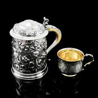 Antique Solid Sterling Silver Large Tankard with Royal Marines Officer Interest - Goldsmiths & Silversmiths Co 1900 (28 of 28)