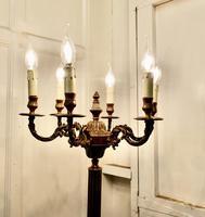 Rococo Gilt Brass Candelabra 6 Branch Floor Lamp, Standard Lamp (3 of 8)