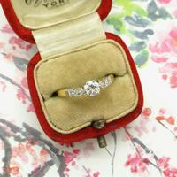 Art Deco 18ct Platinum Diamond Solitaire Engagement Ring 0.35ct (10 of 10)
