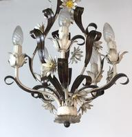 Vintage Rustic Original French Toleware Daisies Ceiling Light Chandelier (8 of 9)