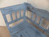 Quality Sky Blue 3 Seater Antique Pine Kitchen / Hall Box Settle/ Bench (6 of 9)
