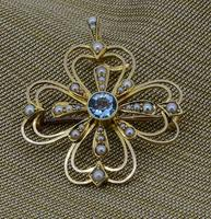 Edwardian 15ct Yellow Gold Aquamarine & Pearl Pendant / Brooch (4 of 5)