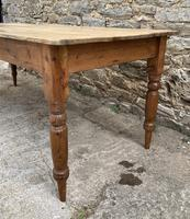 Large Antique Pine Farmhouse Table on Turned Legs (16 of 19)