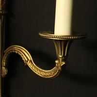 French Pair of Gilded Brass Antique Wall Lights (4 of 8)