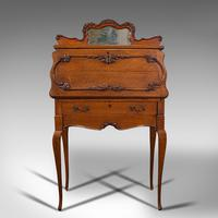 Small Antique Ladies Writing Desk, French, Oak, Bureau, Mirror, Victorian c.1900 (3 of 12)