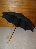 Antique Hallmarked 1918 - 9 Carat Gold Umbrella by Kendall with Black Canopy (2 of 17)