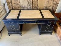 19th Century Ebonised Desk with Brass Swan Neck Handles (4 of 6)