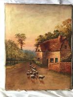 Victorian Oil Painting Shepherd & Flock Of Sheep Circa 1891 (3 of 13)