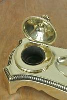Antique Brass Twin Inkstand by William Tonks & Sons Neoclassical Style Inkwell (4 of 8)