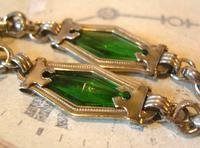 Antique Pocket Watch Chain 1910 Art Nouveau Silver Chrome & Green Glass Albert (7 of 12)