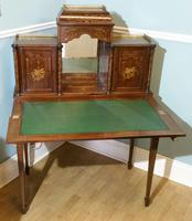 Victorian Mahogany And Inlaid Desk. (4 of 9)