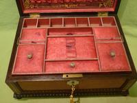 QUALITY Inlaid Rosewood & Amboyna Jewellery – Work Box. c1840 (10 of 16)