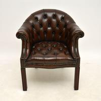 Antique Leather Armchair / Desk Chair (7 of 9)